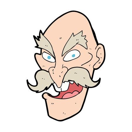 man face: cartoon evil old man face Illustration
