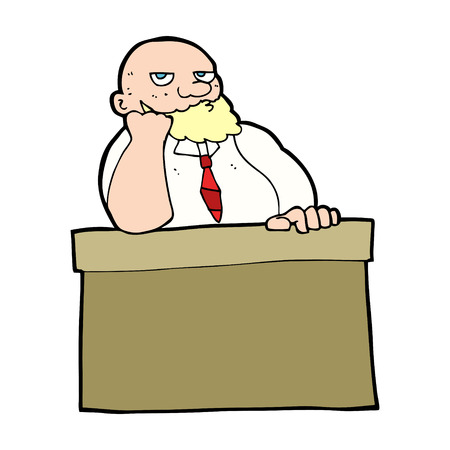 bored man: cartoon bored man at desk