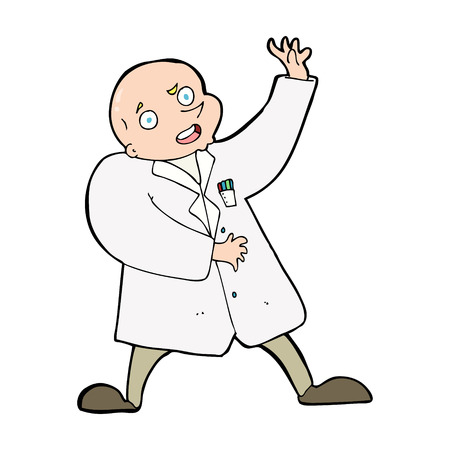 cartoon mad scientist Vector