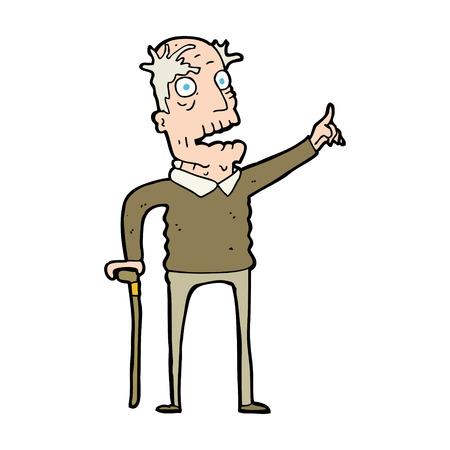 cartoon old man with walking stick Ilustração