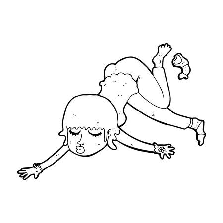 zero gravity: cartoon woman floating