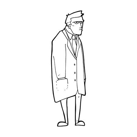 mann bad: Cartoon schlecht gelaunter Mann