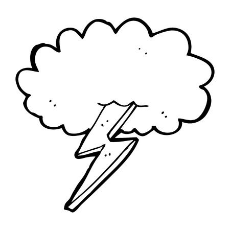 cartoon lightning bolt and cloud Vector