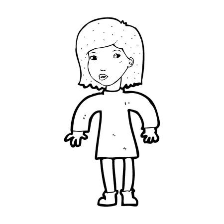 cautious: cartoon cautious woman Illustration