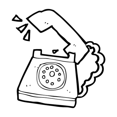 cartoon ringing telephone Vector