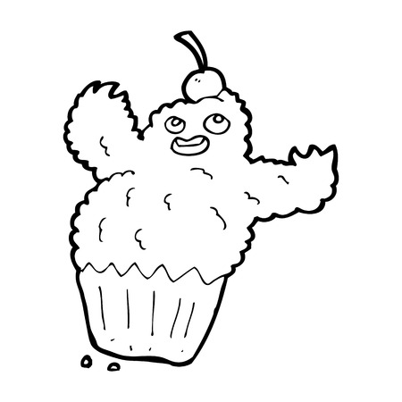 cartoon cupcake monster Vector