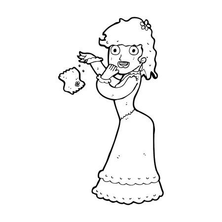 cartoon victorian woman dropping hankerchief Illustration