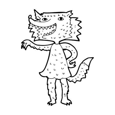 cartoon wolf girl Vector
