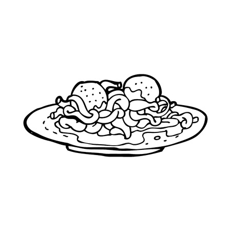cartoon spaghetti and meatballs
