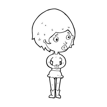 concerned: cartoon concerned woman Illustration
