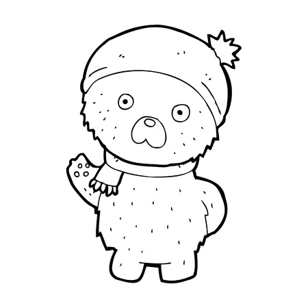cartoon teddy bear in winter hat and scarf Vector