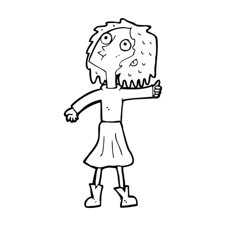 frau nach oben schauen: Cartoon-Frau auf der Suche in den Himmel Illustration