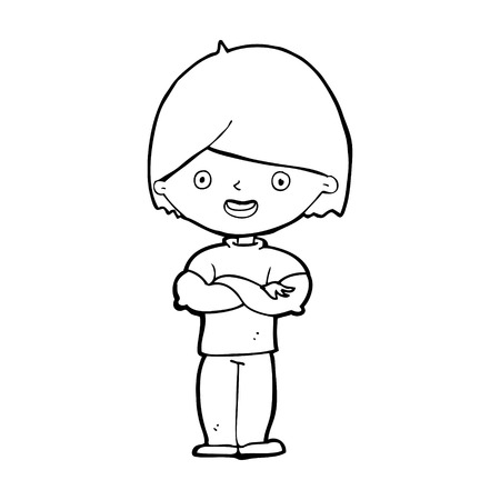 crossed arms: cartoon man with crossed arms Illustration
