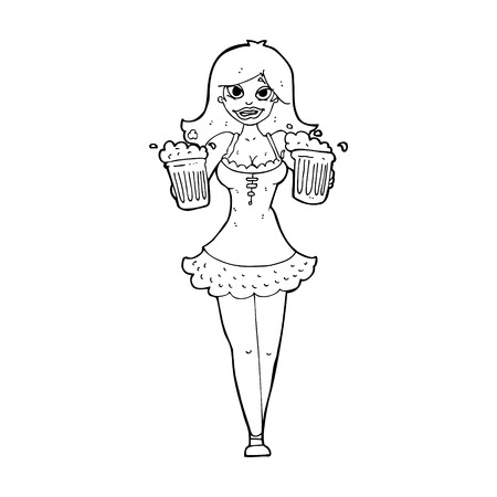 steins: cartoon beer festival girl Illustration