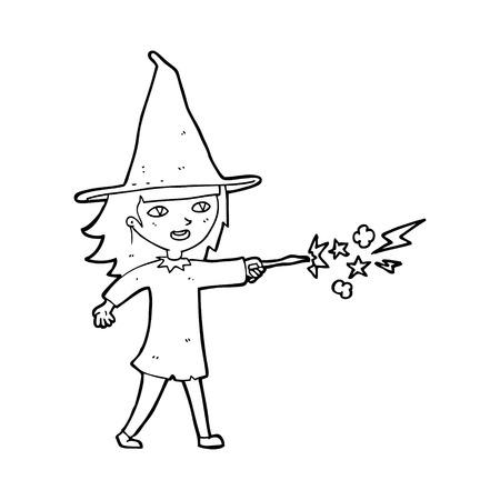 spell: cartoon witch girl casting spell
