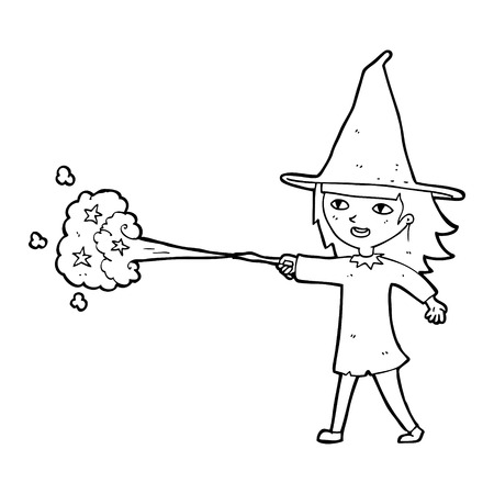 casting: cartoon witch girl casting spell