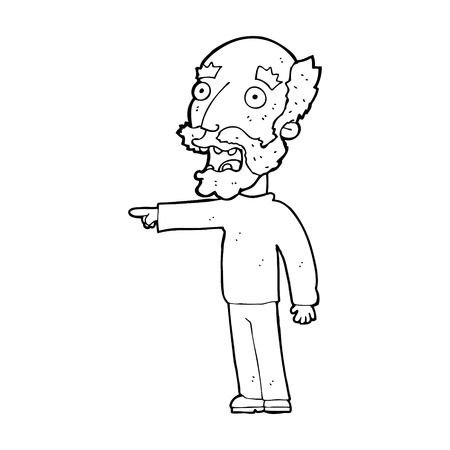 cartoon scared old man pointing Vector