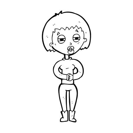 sleepy woman: cartoon tired woman