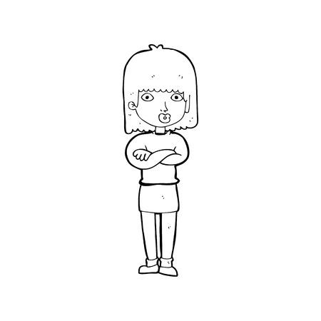 impatient: dessin anim� femme impatient