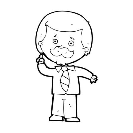 newsreader: cartoon newsreader man with idea