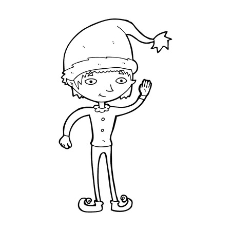 cartoon waving christmas elf Vector