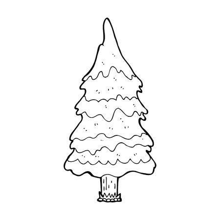 kârlı: karikatür karlı ağaç