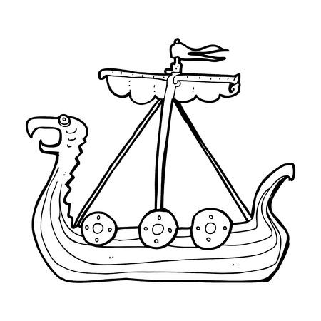viking ship: cartoon viking ship Illustration