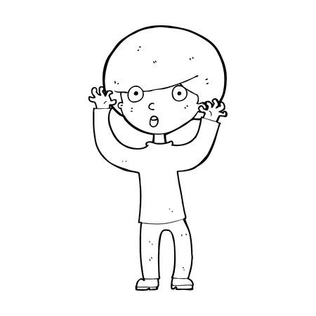 startled: cartoon startled boy Illustration