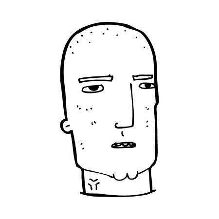 cartoon bald tough guy Vector
