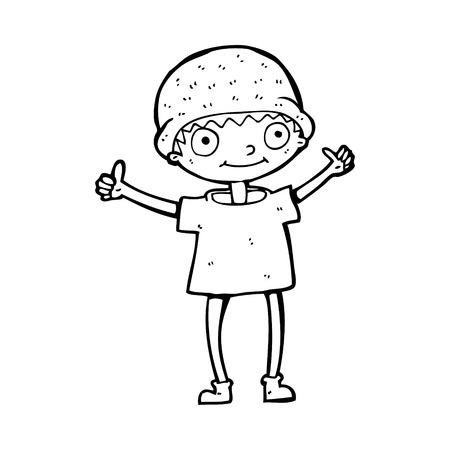 positive attitude: cartoon boy with positive attitude
