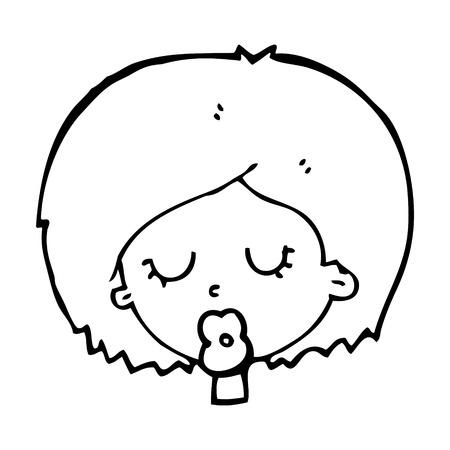geschlossene augen: Cartoon Frau mit geschlossenen Augen
