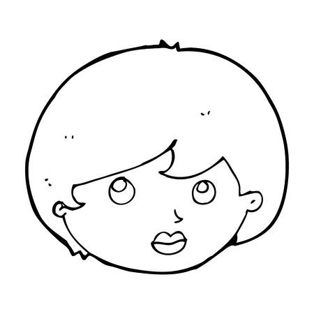 upwards: cartoon female face looking upwards