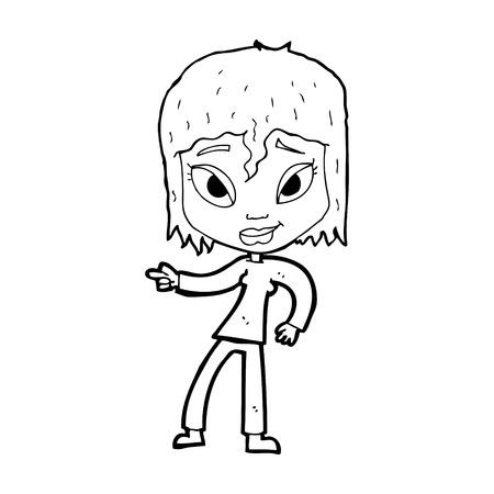 relajado: de dibujos animados mujer relajada se�alando Vectores