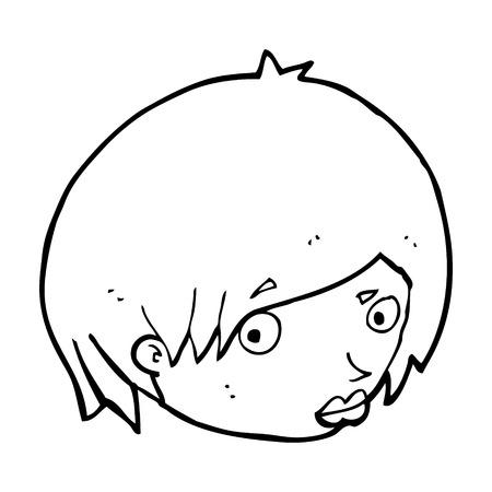 raised eyebrow: cartoon female face with raised eyebrow