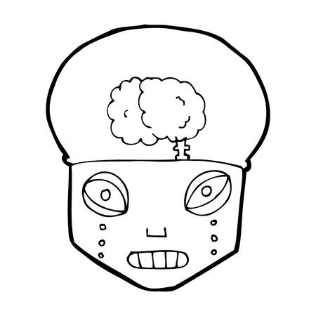 cartoon spooky robot head Vector