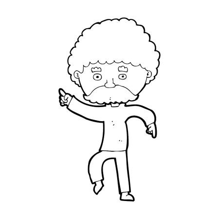 seventies: cartoon seventies style man disco dancing Illustration