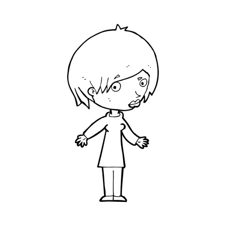 cartoon woman shrugging shoulders Vector