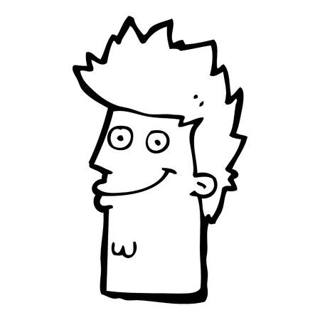 man face: cartoon happy man face Illustration