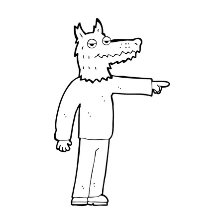 man pointing: cartoon wolf man pointing Illustration