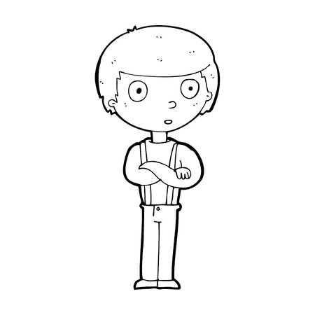 folded hands: cartoon staring boy with folded arms