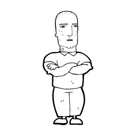 tough man: cartoon annoyed bald man