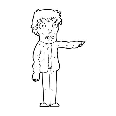 man pointing: cartoon terrified man pointing