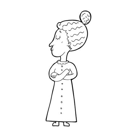 cartoon strict victorian teacher Illustration