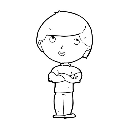 folded hands: cartoon happy man with folded arms Illustration