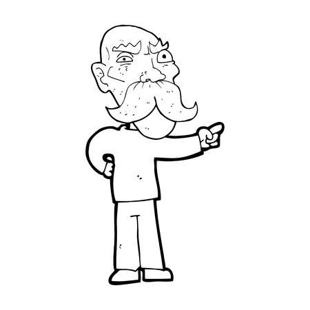 bande dessinée ennuyé vieil homme pointage