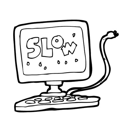 slow: cartoon slow computer Illustration
