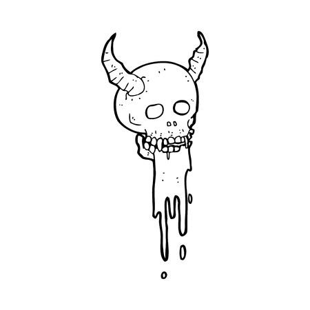 spook: cartoon spooky halloween skull Illustration