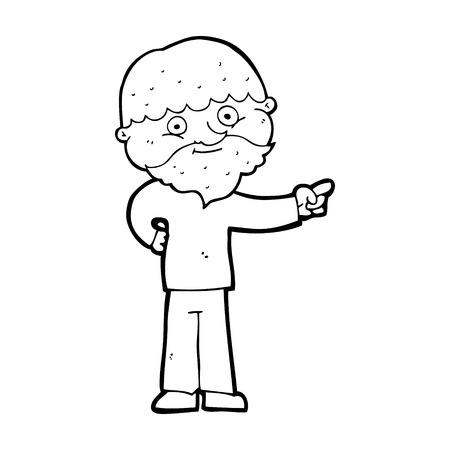 man pointing: cartoon bearded man pointing