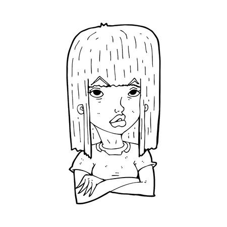 folded hands: cartoon girl with folded arms