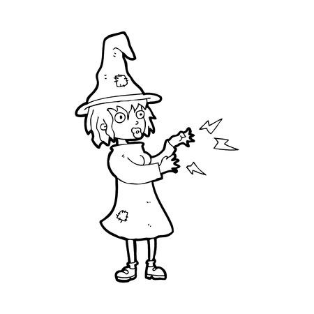 spell: cartoon witch casting spell Illustration